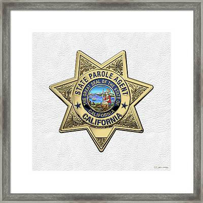California State Parole Agent Badge Over White Leather Framed Print by Serge Averbukh