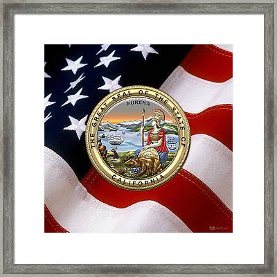 California State Seal Over U.s. Flag Framed Print by Serge Averbukh