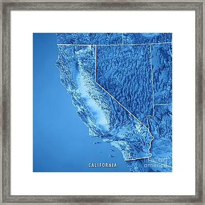 California State Usa 3d Render Topographic Map Blue Border Framed Print