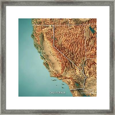 California State Usa 3d Render Topographic Map Border Framed Print