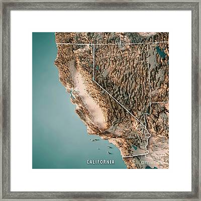 California State Usa 3d Render Topographic Map Neutral Border Framed Print