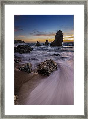 California Sunset On Rodeo Beach Framed Print