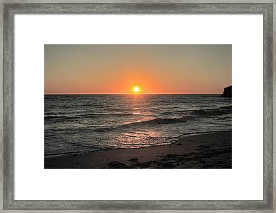 California Sunset Pacific Ocean Davenport  Framed Print by Larry Darnell