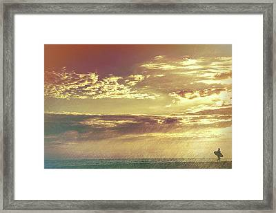 California Sunset Surfer Framed Print