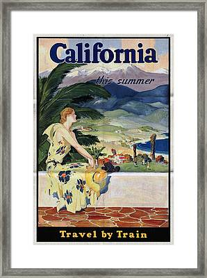 California This Summer - Travel By Train - Vintage Poster Folded Framed Print