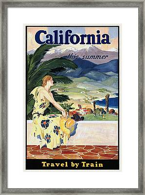 California This Summer - Travel By Train - Vintage Poster Restored Framed Print