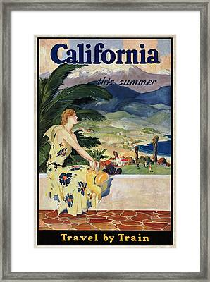 California This Summer - Travel By Train - Vintage Poster Vintagelized Framed Print