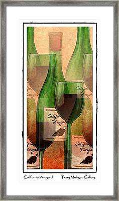 California Vineyard Wine Bottle And Glass Framed Print by Terry Mulligan