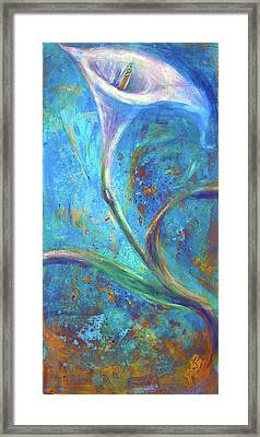 Framed Print featuring the painting Calla Azure by Gertrude Palmer