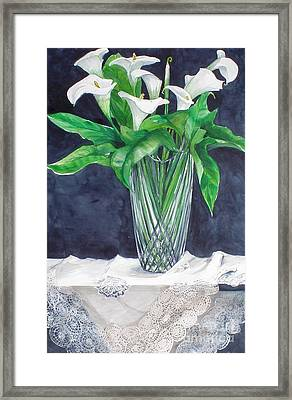 Calla Lilies And Lace Framed Print