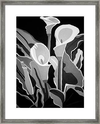Calla Lilies Bw Framed Print