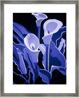 Calla Lilies Royal Framed Print