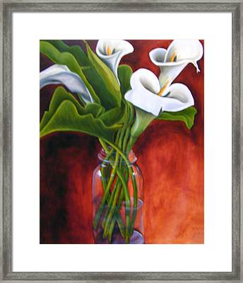 Calla Lilly On Red Framed Print