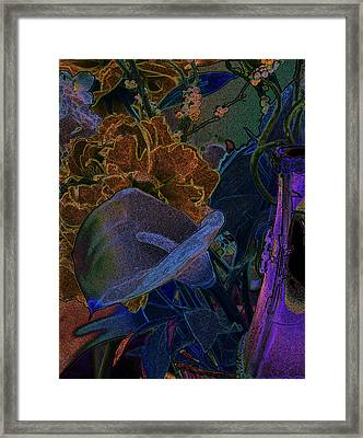 Framed Print featuring the digital art Calla Lily Abstract by Stuart Turnbull