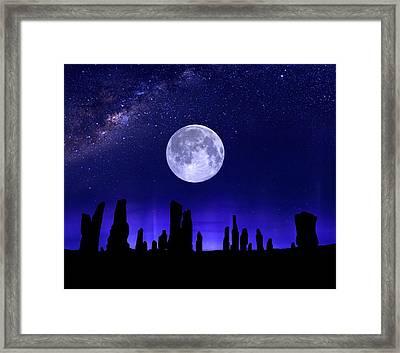 Callanish Stones Under The Supermoon.  Framed Print