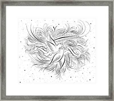 Calligraphic Love Birds Framed Print by Dwayne Hamilton