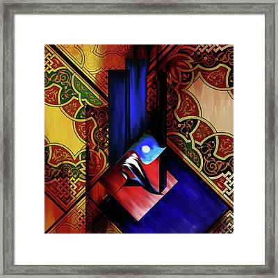 Framed Print featuring the painting Calligraphy 102 1 1 by Mawra Tahreem