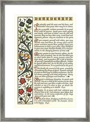 Calligraphy Desiderata Watercolor Wildflower Framed Print