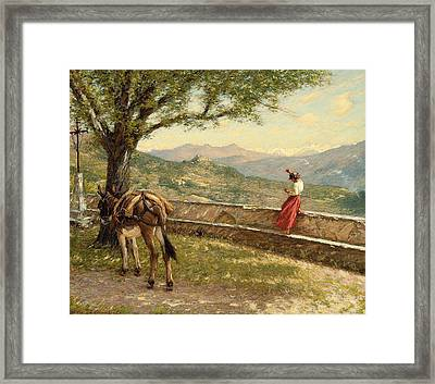 Calling To The Valley Framed Print by Henry Herbert La Thangue