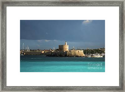 Calm After The Storm At Mandraki Harbor  Framed Print