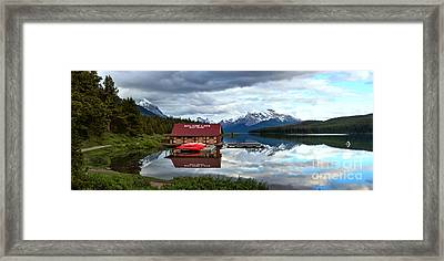 Calm Afternoon Maligne Lake Panorama Framed Print