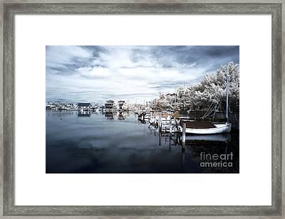 Calm At Lbi Blue Infrared Framed Print