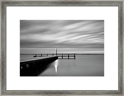 Calm Barnegat Bay New Jersey Black And White Framed Print by Terry DeLuco