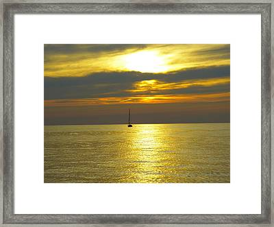 Calm Before Sunset Over Lake Erie Framed Print by Donald C Morgan