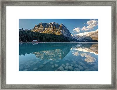 Calm Lake Louise Reflection Framed Print