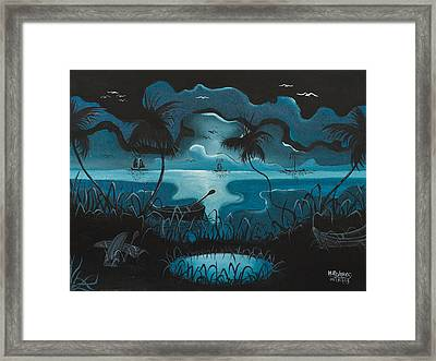 Calm Moonlit Sea Framed Print by Herold Alvares