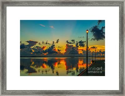Calm River Sunrise Framed Print