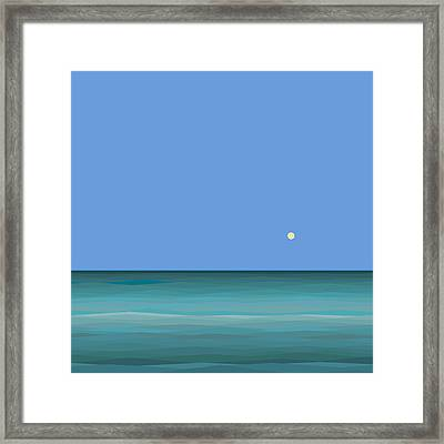 Framed Print featuring the digital art Calm Sea - Square by Val Arie
