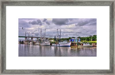 Calm Waters Shrimp Boats Tybee Island Georgia Art Framed Print by Reid Callaway