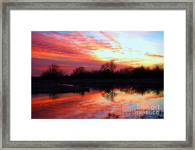 Framed Print featuring the photograph Calming Sunset by Larry Keahey