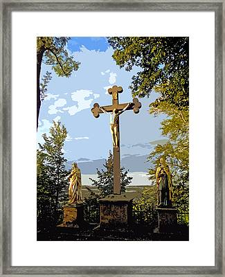 Framed Print featuring the photograph Calvary Group - Parkstein by Juergen Weiss