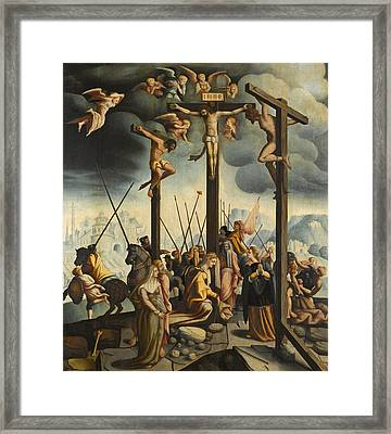 Calvary With The Three Crosses Framed Print by Follower of Jan van Scorel