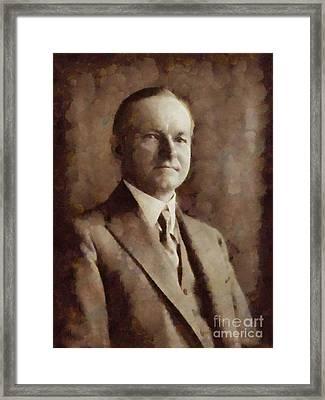 Calvin Coolidge, President United States By Sarah Kirk Framed Print by Sarah Kirk