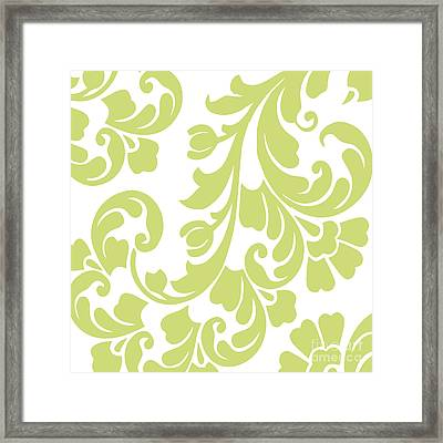 Calyx Chartreuse Damask Framed Print by Mindy Sommers