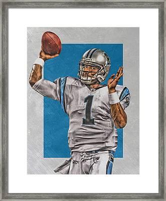 Cam Newton Carolina Panthers Art 2 Framed Print by Joe Hamilton