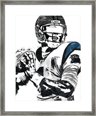 Framed Print featuring the mixed media Cam Newton Carolina Panthers Pixel Art 3 by Joe Hamilton