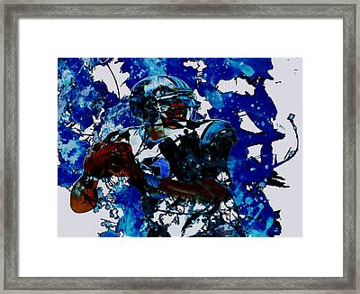 Cam Newton Dominating The Game Framed Print by Brian Reaves