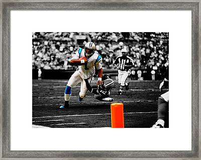 Cam Newton Eye On The Prize Framed Print by Brian Reaves
