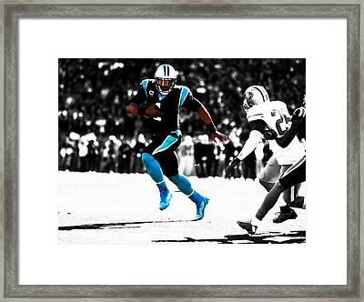 Cam Newton Out The Pocket Framed Print by Brian Reaves
