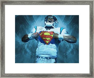 Cam Newton Superman Framed Print