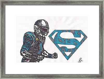 Cam Newton Superman Edition Framed Print