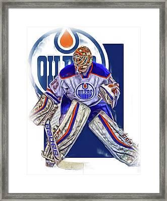 Cam Talbot Edmonton Oilers Oil Art Framed Print by Joe Hamilton