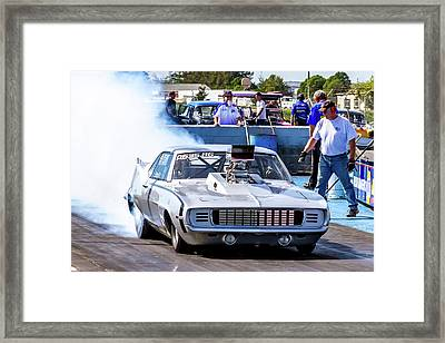 Camaro Burnout Framed Print by Bill Gallagher