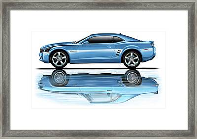 Camaro 2010 Reflects Old Blue Framed Print