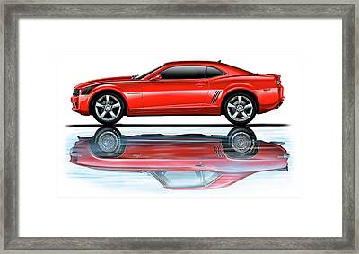 Camaro 2010 Reflects Old Red Framed Print by David Kyte