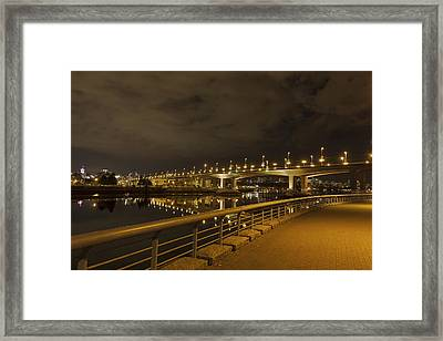 Cambie Bridge In Vancouver Bc At Night Framed Print